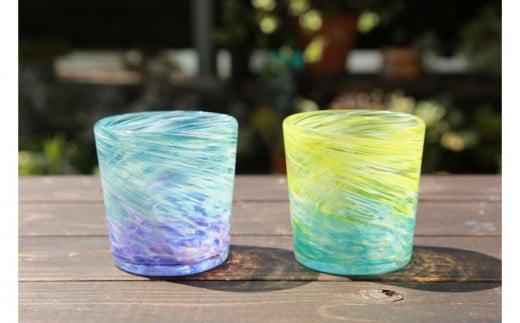 【伝統工芸】ガラス工房雫 深海ロックグラス エメラルド・紫2個セット