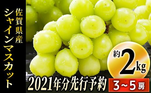 TKB5-018 【先行予約】佐賀県産シャインマスカット 約2kg(3〜5房)(令和3年収穫分)
