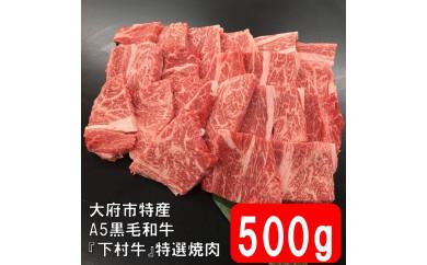 【大府市特産】A5黒毛和牛『下村牛』特選焼肉(カタ・モモ・バラ肉などの中から最高の部位をご提供)500g
