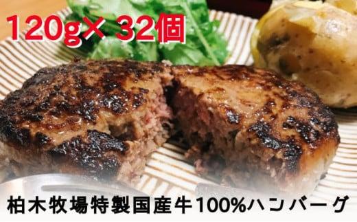 [№5862-1183]「ジュワッと肉汁まで美味い!」柏木牧場特製 国産牛100%ハンバーグ(120g×32個)