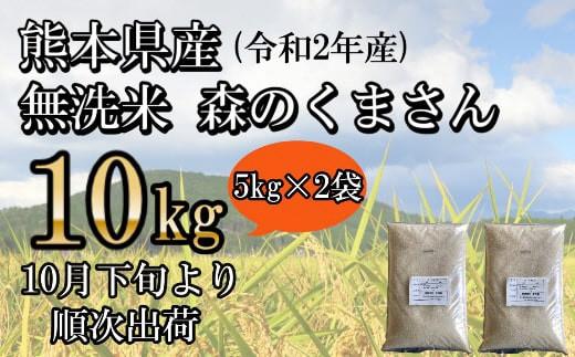 令和2年産★<無洗米>熊本県産森のくまさん 10kg(5kg×2袋)