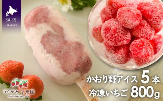 かおり野の果肉がごろっと入ったアイスキャンディー&かおり野を丸ごと楽しめる冷凍いちごのセットです。