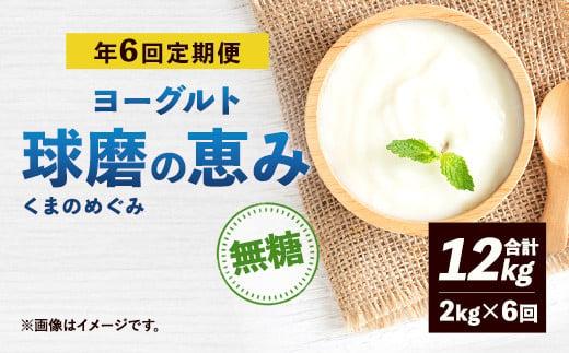 【定期便奇数月】球磨の恵み ヨーグルト 無糖 計12kg(2kg×6回)
