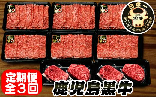 <ニコニコエール品>【定期便】鹿児島黒牛 定期便全3回 1200pt NFN281