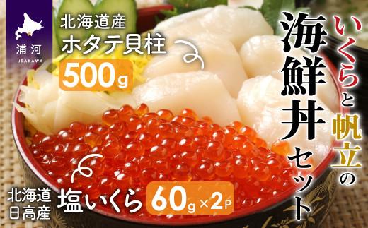 【10月中旬頃より発送】北海道日高産 塩いくら(60g×2P)と北海道産ホタテ(500g)の海鮮丼セット[15-891]
