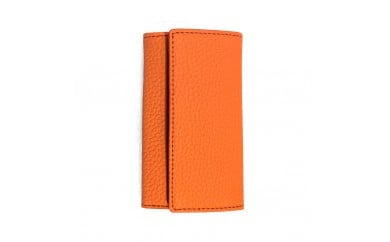 豊岡財布 三つ折りキーケース ドイツ製高級皮革使用(オレンジ、レッド、ジーンブルー、ライトグレー)
