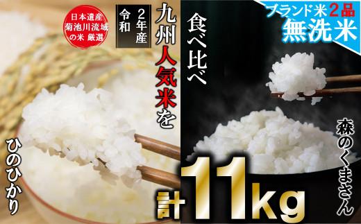 AG15  無洗米 2品 食べ比べ 菊池川流域の米 11kg