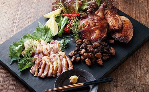 鹿児島地鶏ほぼ1羽たべづくしセット(鹿児島地鶏半身・炭火焼若鶏ごて焼)