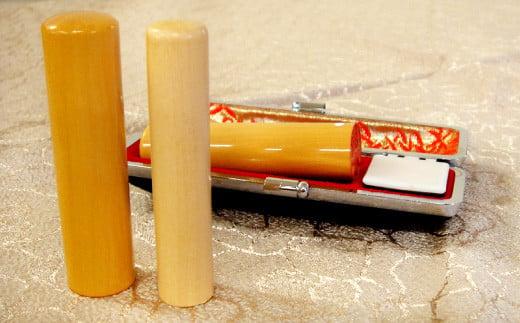 印鑑 柘植 朱肉つば付きケース付き 直径16.5mm×長さ60mm アタリ付き