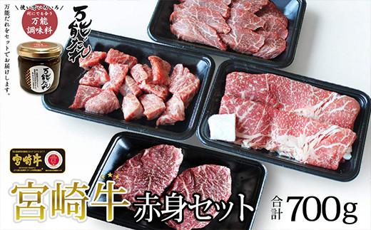 S-10 宮崎牛 赤身4種セット 700g 万能だれ付き 国産和牛
