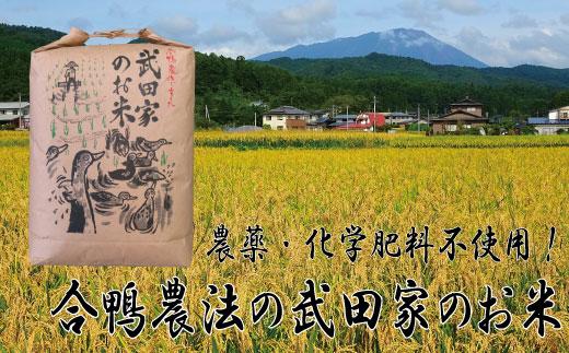 A-147 農薬・化学肥料不使用!合鴨農法の武田家のお米 銀河のしずく(玄米)5kg 【令和2年産米】