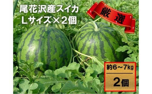 【観光物産】尾花沢産スイカLサイズ(約6~7㎏)×2(7月下旬~8月上旬頃発送)(K12)