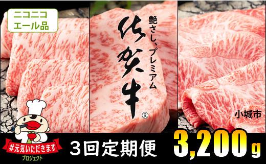 F80-009 【エール品~12月18日受まで】3回定期便 佐賀牛(3,200g)