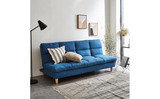 EL001 3人掛けソファベッド 幅185cm アルボ 【開梱設置・組み立て付き】ブルー[AK001]