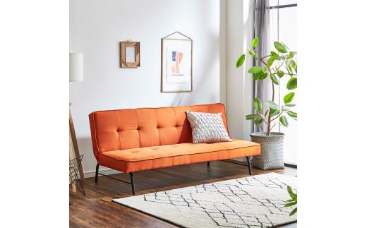 EL007 3人掛けソファベッド 幅169cm ポーラー 【開梱設置・組み立て付き】オレンジ[AK007]