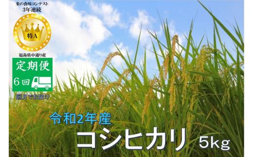 No.1021  【定期便6回】令和2年産 コシヒカリ 5kg 精米 (隔月でお届け)