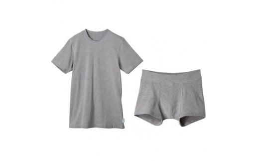 杢グレー クルーネックTシャツ&ボクサーパンツ