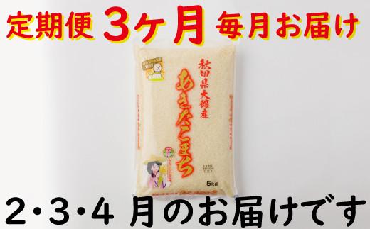 90P9005 令和2年産【定期便3ヶ月】秋田県大館産あきたこまち5kg(2月~4月配送)