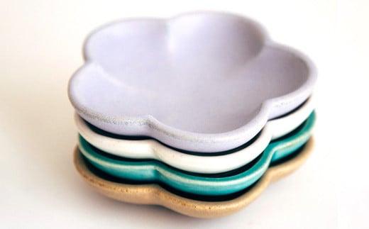 【Awabi ware】花型豆皿 4枚セット
