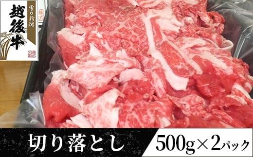 63-11越後牛(交雑種)切り落とし500g×2パック