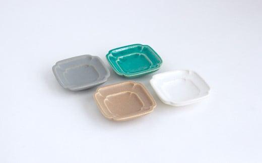 【Awabi ware】四方豆皿 4枚セット