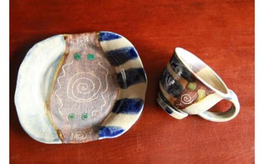 【伝統工芸 琉球禮子窯】知花禮子 大皿コーヒーカップセット(正方形)