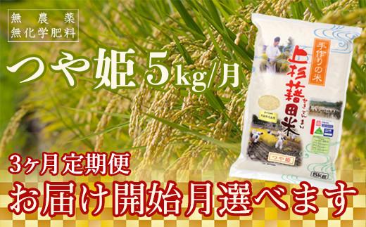 【R2年産米 定期便】《お届け開始月が選べる》 つや姫5kg×3ヶ月 無農薬・無化学肥料栽培《精米》