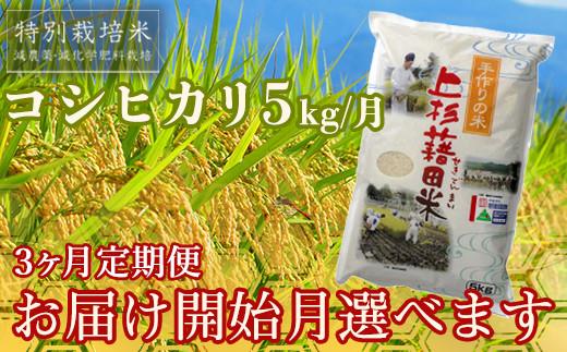 【R2年産米 定期便】《お届け開始月が選べる》 コシヒカリ5kg×3ヶ月 特別栽培米(減農薬・減化学肥料栽培 ) 《精米》