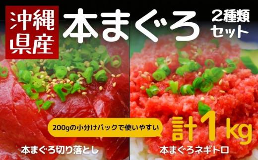 沖縄県産 本まぐろ切り落とし&ネギトロセット 1kg(200g×5)