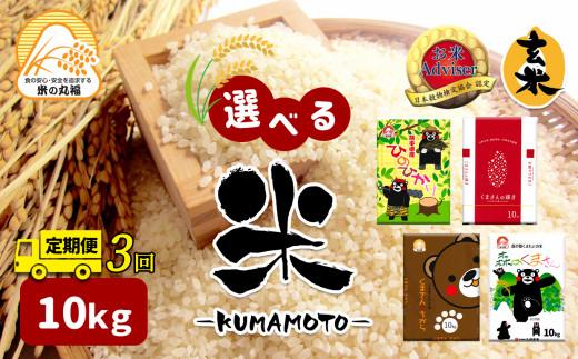 DI4【定期便3回】≪選べる品種≫熊本県産米 10kg×3回