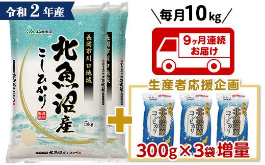 PM10-9【9ヶ月連続お届け】北魚沼産コシヒカリ(長岡川口地域)10kg+無洗米300g×3袋