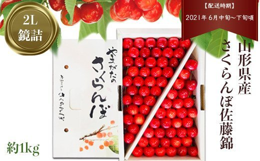H040 【鏡詰・2L】さくらんぼ佐藤錦(山形県産) 約1kg
