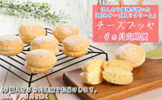 【定期便4カ月】こだわりの窯焼き「チーズブッセ」10個入×4ヵ月連続お届け
