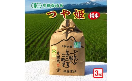SA0684 令和2年産 【有機栽培米】つや姫 3kg白米 YU