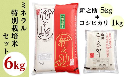 B7-33ミネラル特別栽培米セット6kg(長岡産新之助5kg・長岡産コシヒカリ1kg)