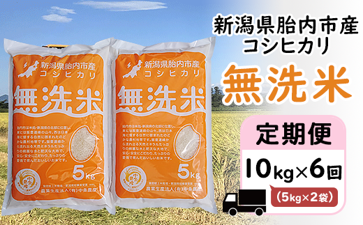 16-M3【6ヶ月連続お届け】新潟県産エコファーマーこだわりのコシヒカリ【無洗米】10kg(5kg×2袋)
