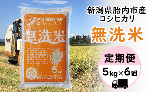 16-M6【6ヶ月連続お届け】新潟県産エコファーマーこだわりのコシヒカリ【無洗米】5kg