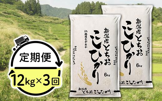 【3ヶ月連続お届け】新潟県長岡産コシヒカリ(栃尾地域)12kg