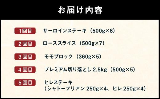 【5回発送】九州産黒毛和牛 定期便 5回 肉