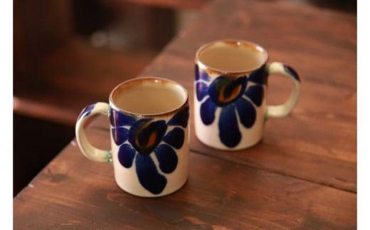 【伝統工芸】仲間陶房 ミドルカップ(唐草染付)ペアセット