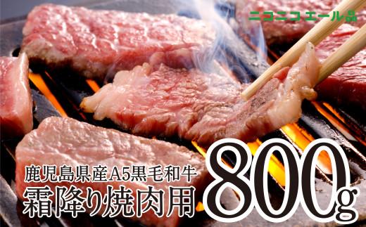 【ニコニコエール品】【鹿児島県産】A5 黒毛和牛 霜降り焼肉用 800g【コロナに負けるな!】