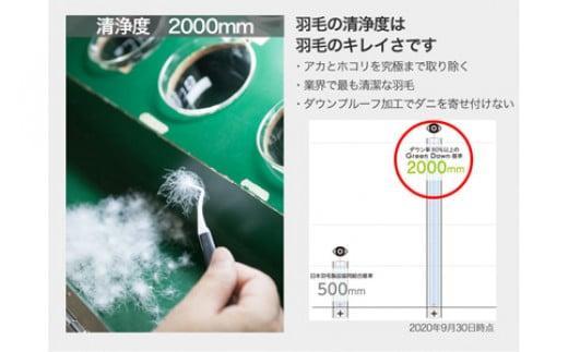 清浄度2000mm 洗浄度は羽毛のキレイさです。