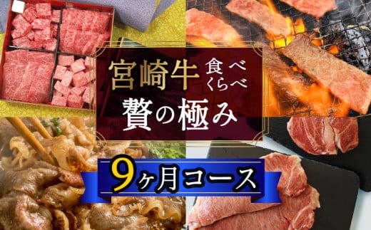 <宮崎牛>食べ比べ贅の極み 9ヶ月コース【G21】