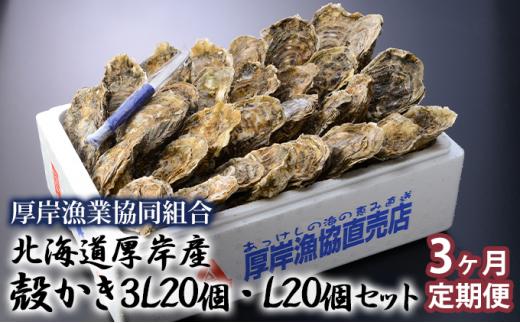 [№5863-0529]北海道厚岸産 殻かき3L20個・L20個セット 3ヶ月定期便