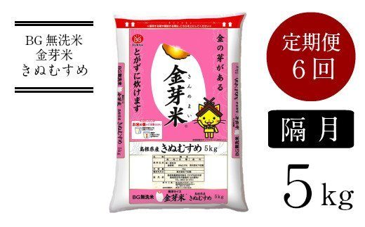 47-SS-19 BG無洗米・金芽米 きぬむすめ 5kg×6回 定期便 【隔月】