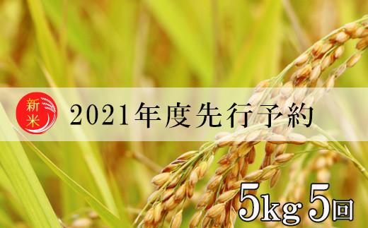 No.0988 先行予約【定期便5回】2021年度米 福島の美味しいお米を月イチ5回定期便・この美味しさをひとりじめ『コシヒカリ』合計25kg