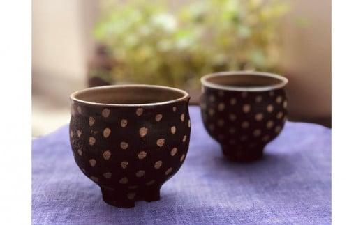 南陶窯 四つ足カップ丸形2個セット【ドット】