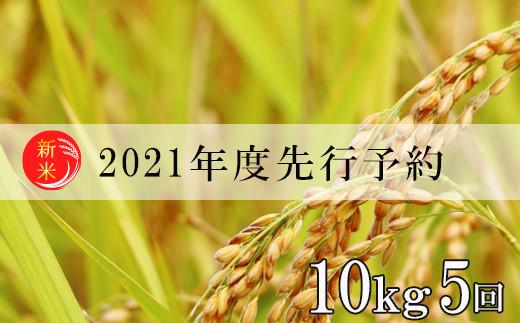 No.0989 先行予約【定期便5回】2021年度米 福島の美味しいお米を月イチ5回定期便・この美味しさをひとりじめ『コシヒカリ』合計50kg
