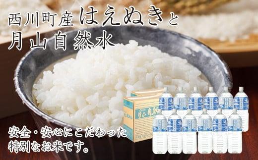 FYN9-270 令和2年産 山形県西川町産米 はえぬき10kg(5kg×2)と月山自然水2L×6本 2箱