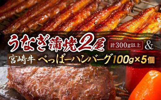 B125 《年末年始お楽しみ企画》うなぎ蒲焼2尾&宮崎牛ぺっぱーハンバーグ(100g×5個)セット